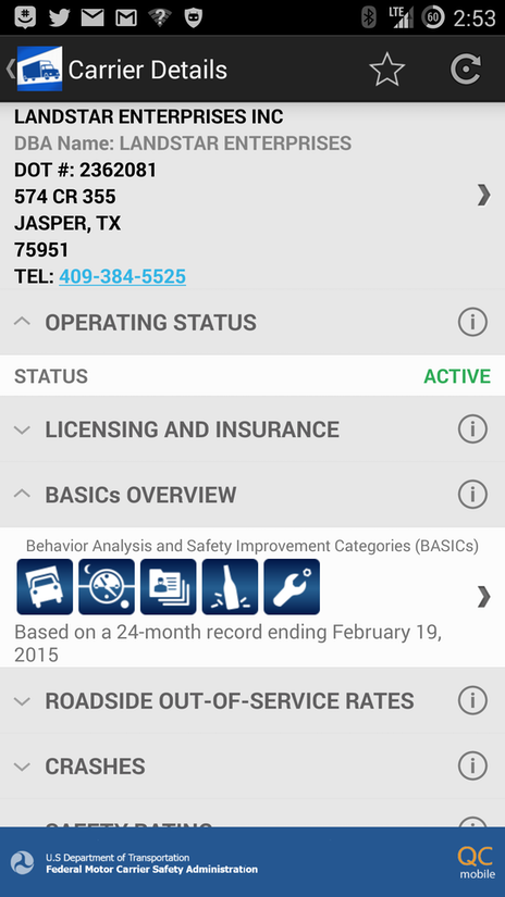 Industry concerns aside fmcsa releases smartphone app to for Federal motor carrier phone number
