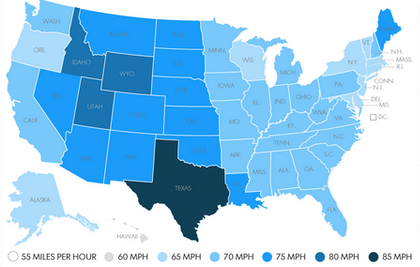 Find a recent USA Today report on trends on top speed limits, including this map graphic, via this link.