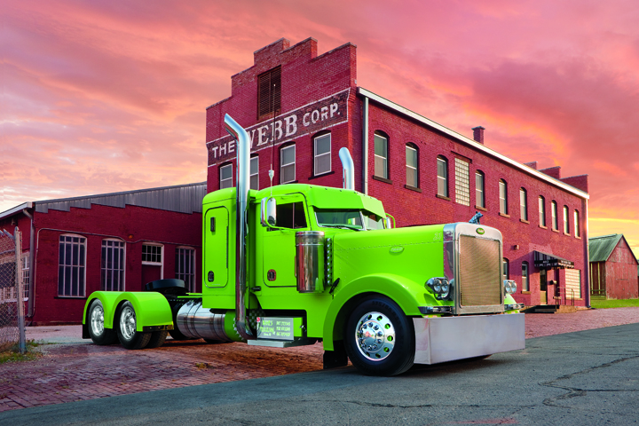 "Travis Buhr's Peterbilt 379, painted in what he calls a ""hot lime green,"" was featured in the 2013 Shell Superrigs calendar."