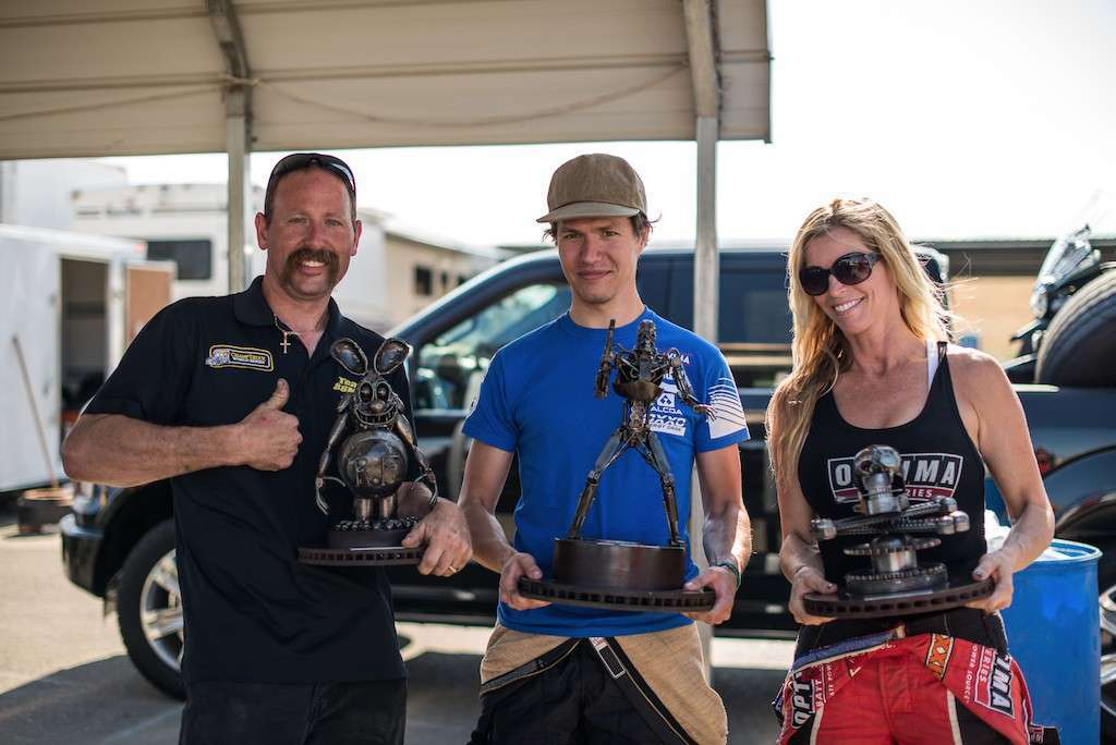 Krisztian Szabo, center, won the points-earning race at the Thunderhill ChampTruck event, with Mike Morgan, left, placing second and four-wheeler racer Corry Wheller, right, coming in third.