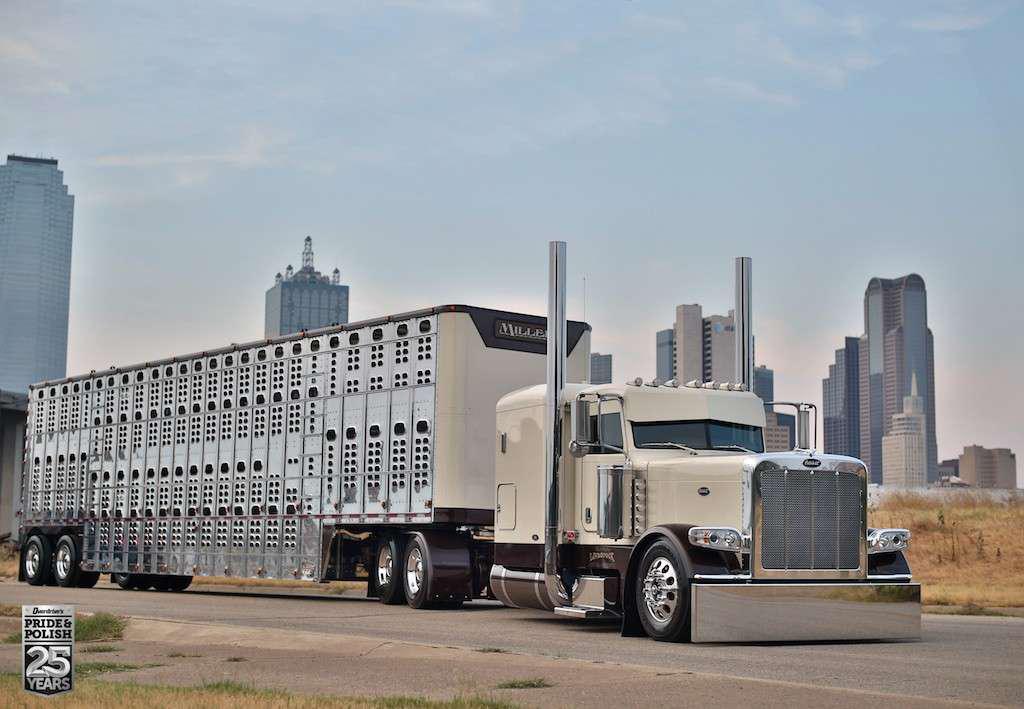 25th anniversary Truckers' Choice finalist: Phil Miller's 2010 Peterbilt 389 and Wilson livestock trailer