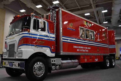 PHOTOS: Sneak peek at the restored Evel Knievel Mack haul rig on the GATS show floor