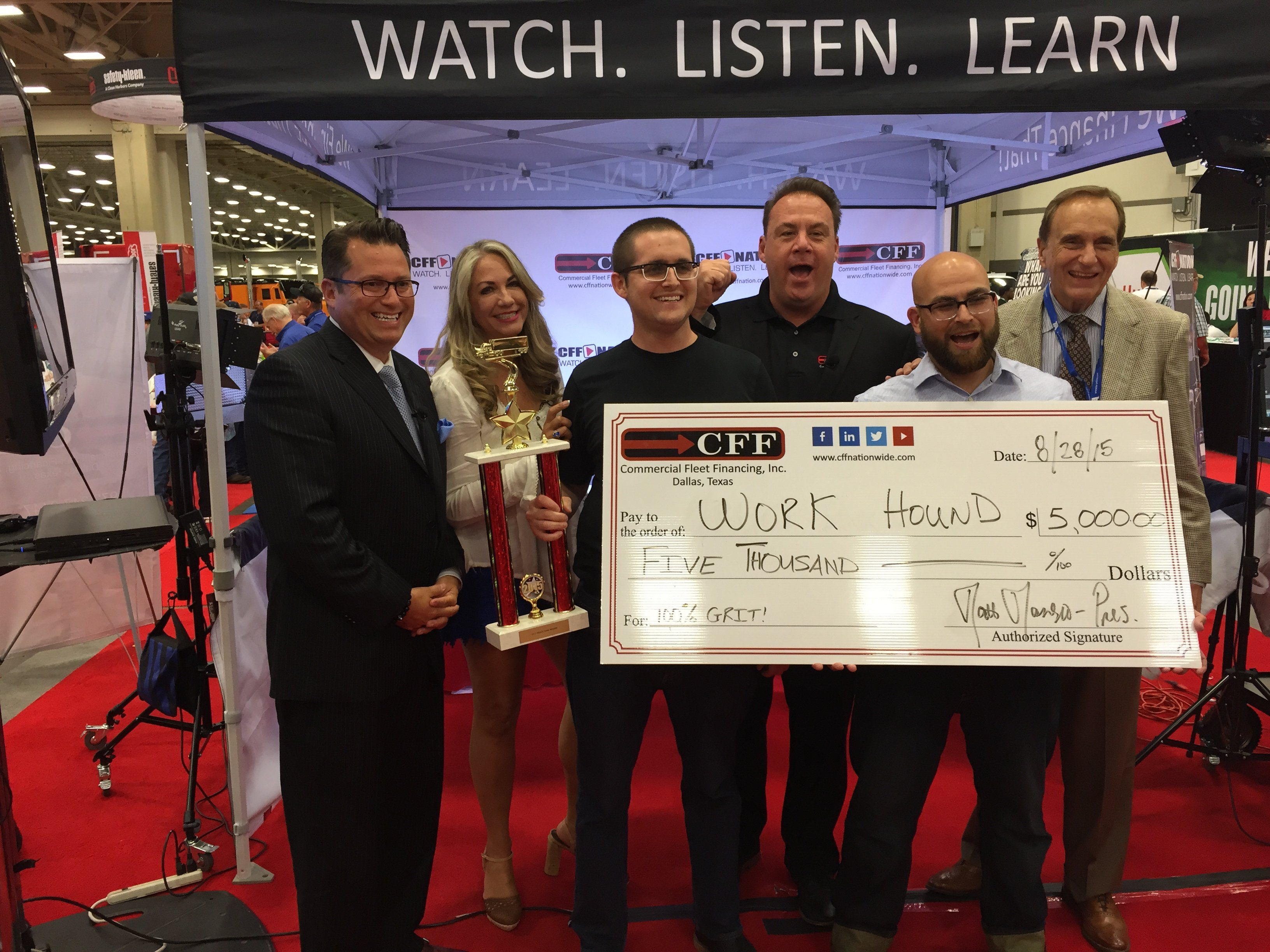 Truck Tank winners Max Farrell and Andrew Kirpalani are shown with Truck Tank judges RJ Grimshaw, CEO of Unifi Equipment Finance; Bethany Williams, writer, speaker and entrepreneur advisor; Matt Manero, founder and CEO of CFF; and Don Daseke, chairman, president and CEO of Daseke.