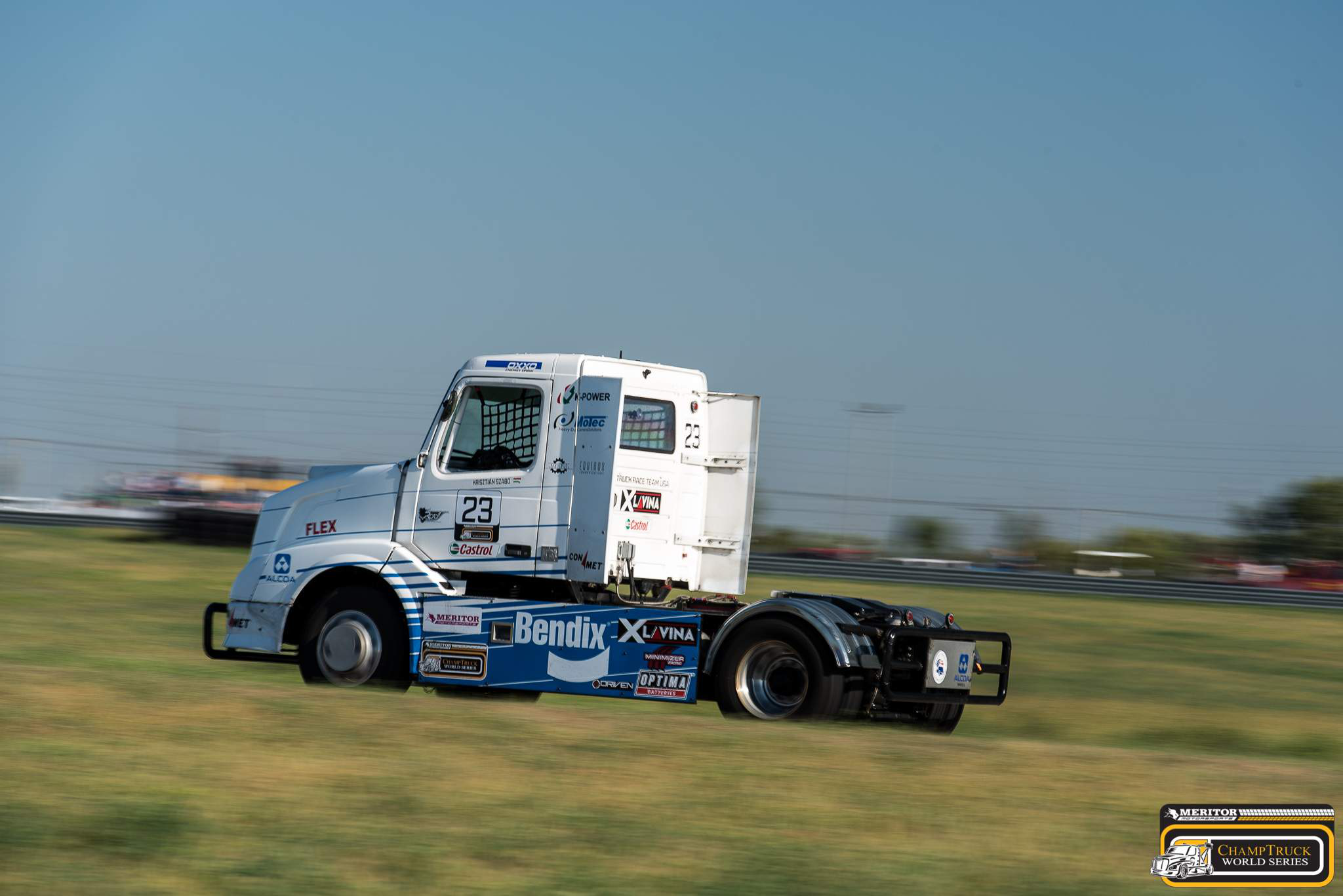 Hungarian racer Krisztian Szabo drove to victory in ChampTruck's seventh race of the season at Motorsports Park Hastings in Nebraska.