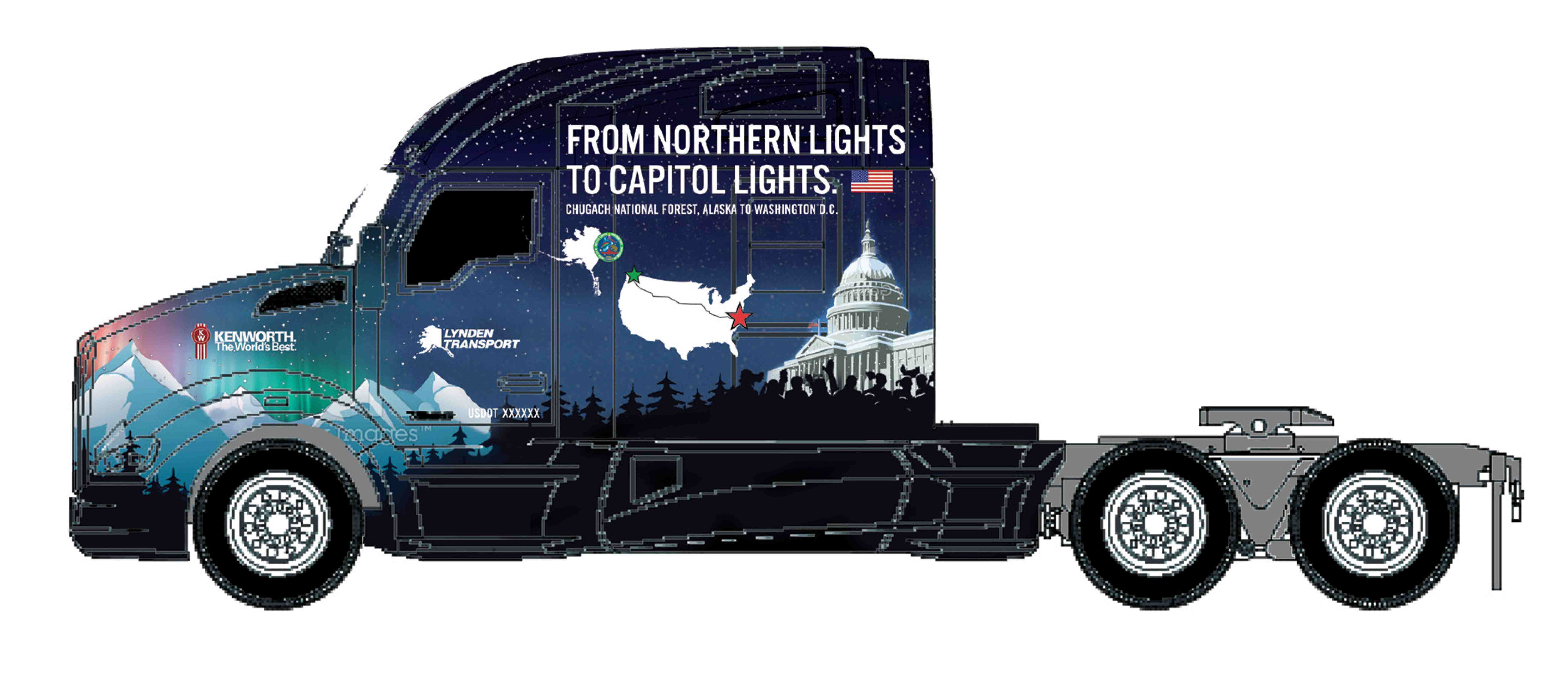 Christmas-decaled Kenworth T680 to deliver Capitol Christmas Tree to D.C.