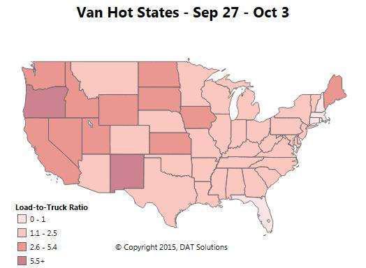 National van freight -- end-of-quarter rush boosts volume, demand