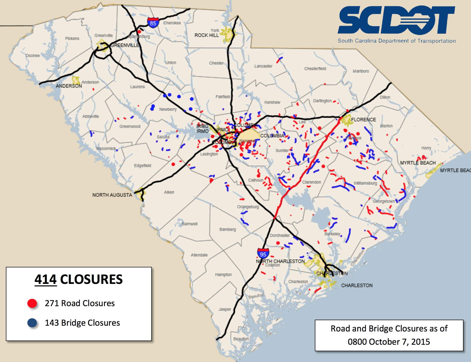 UPDATED: 271 roads, 143 bridges closed in South Carolina after downpour, flooding