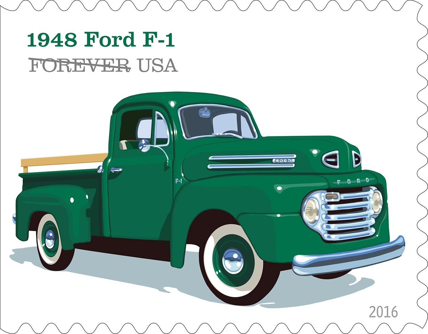 "•The 1948 Ford F-1 included features like the roomy ""Million Dollar Cab,"" a sharp horizontal five-bar grille and a six cylinder engine."