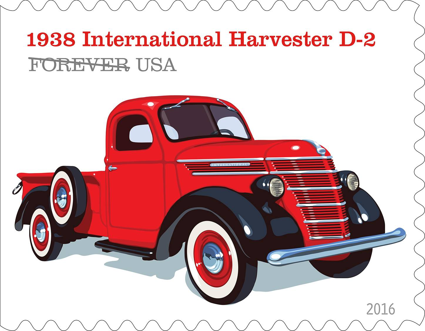 The 1938 International Harvester D-2 had a distinct barrel-shaped grille, and its elegant styling mirrored the look of luxury automobiles of the era.
