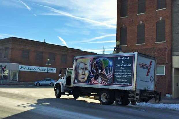 Artist Julian Raven's dry-box-side Trump portrait and ongoing tour