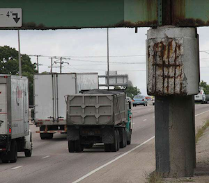 This photo from the Rhode Island DOT is being used to illustrate the state's deteriorating roads and bridges.