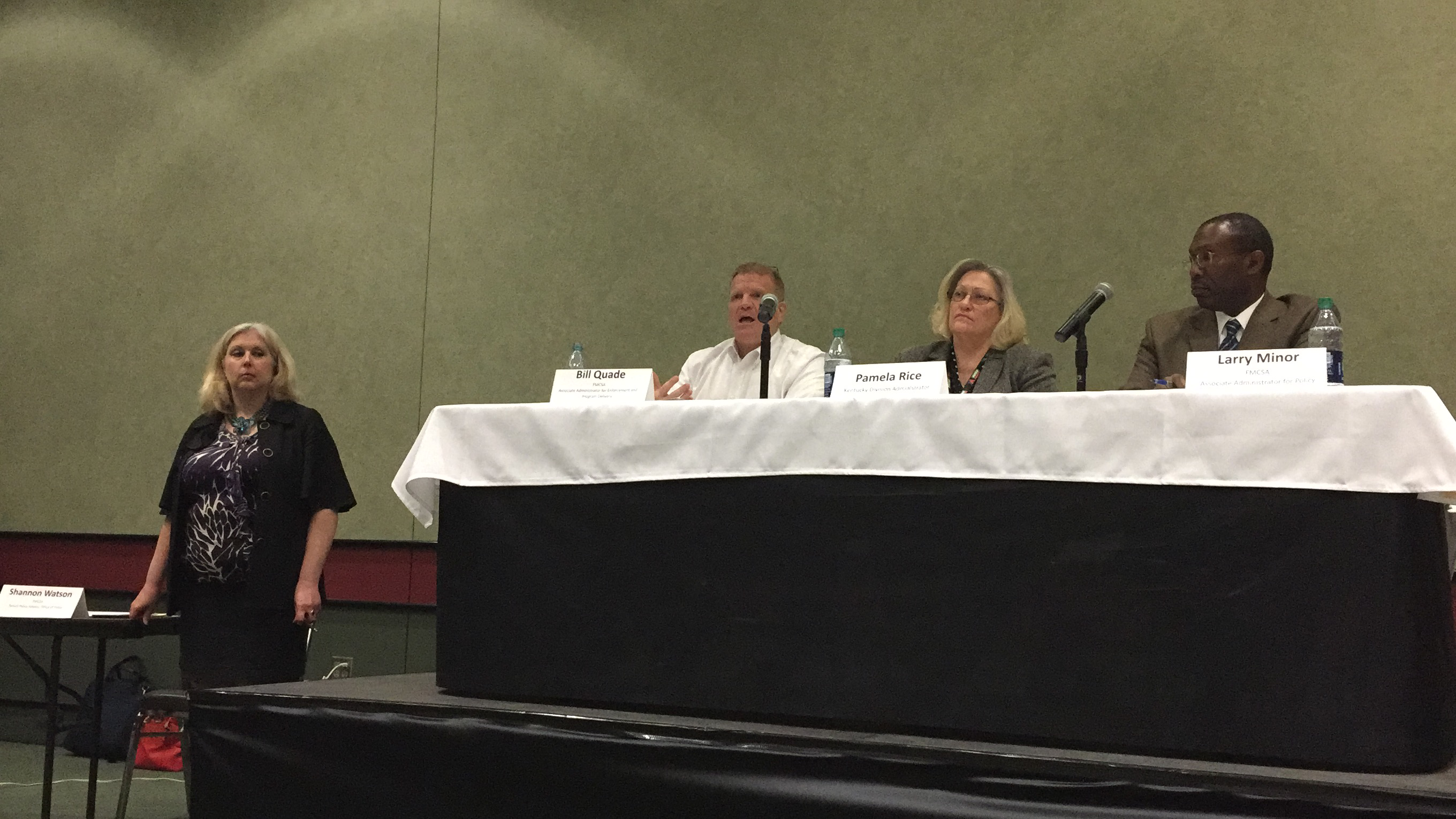 FMCSA's Bill Quade, Associate Administrator for Enforcement and Program Delivery; Pamela Rice, Kentucky Division Administrator; and Larry Minor, Associate Administrator for Policy sat on the agency's Beyond Compliance listening session panel Friday at the Mid-America Trucking Show in Louisville, Ky.