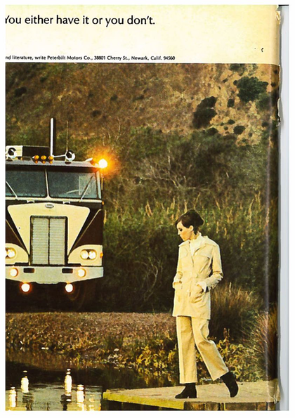 A Peterbilt ad from the back cover of a 1968 edition of Overdrive.