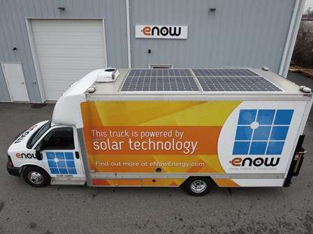 eNow cab/trailer roof solar-charge system for battery-based