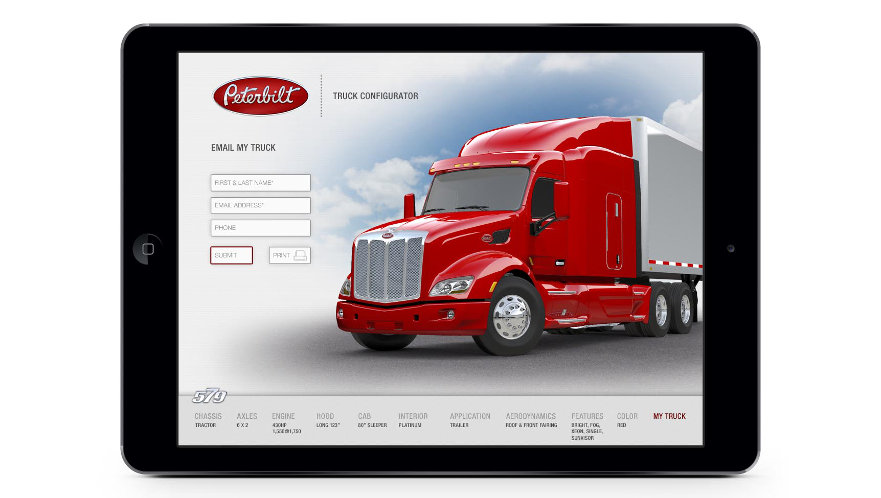 Design own Peterbilt 579 with new app