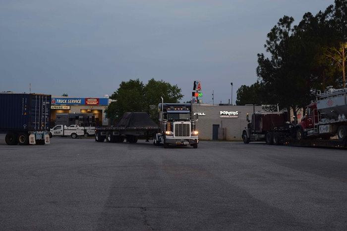 truckstop truck stop hours of service evening parking hos fuel island20160526_0038