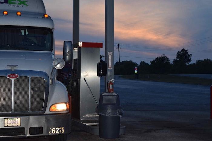 truckstop truck stop hours of service evening parking hos fuel island20160526_0062