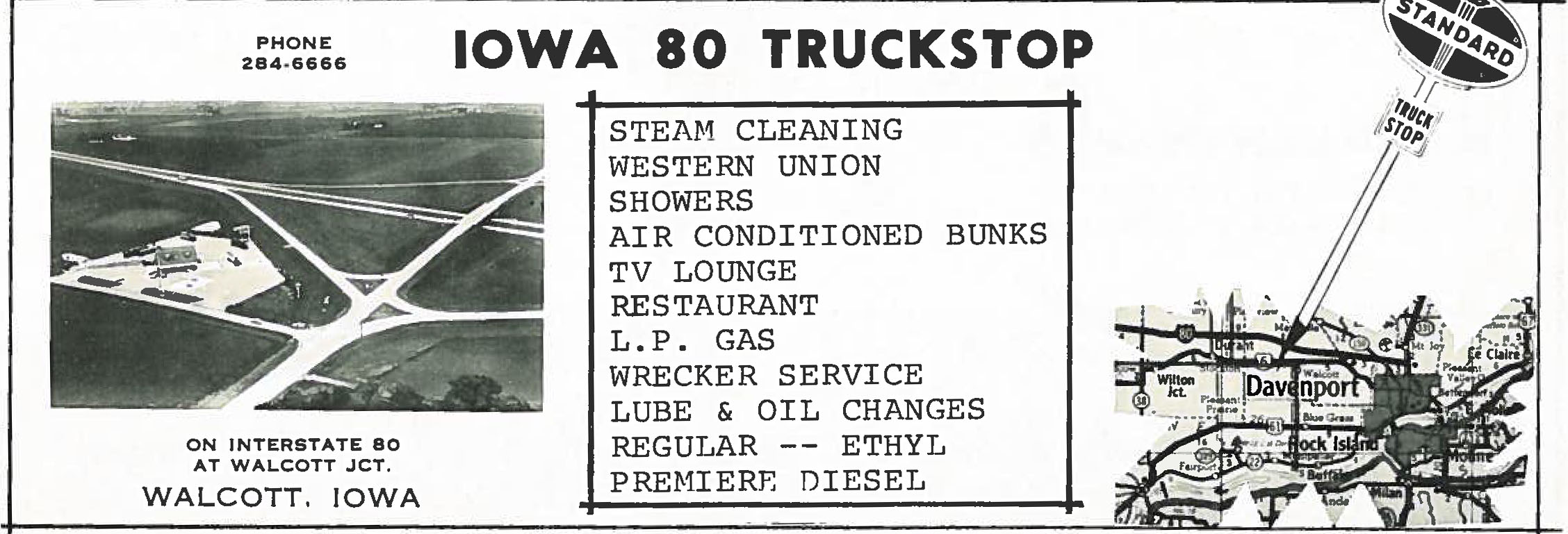 An ad for the Iowa 80 Truckstop from the September 1965 issue of Overdrive. Compare it to the aerial photo above, which ran less than 10 years later in Overdrive.