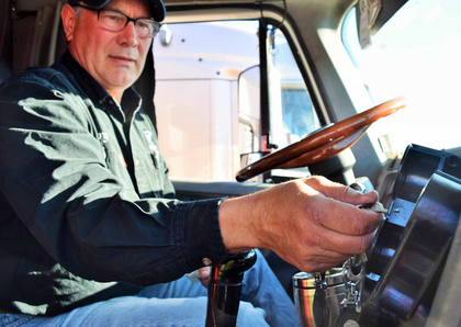 Buchs runs with both an air cuff lock for the tractor and a bar lock for whatever Landstar dry van he happens to be hauling at any given time.