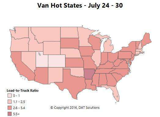 Spot market van rates showing strength -- relatively speaking, that is