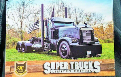 You may see this one out there if you're using Cat Scales -- Black Out's recently released SuperTrucks card.
