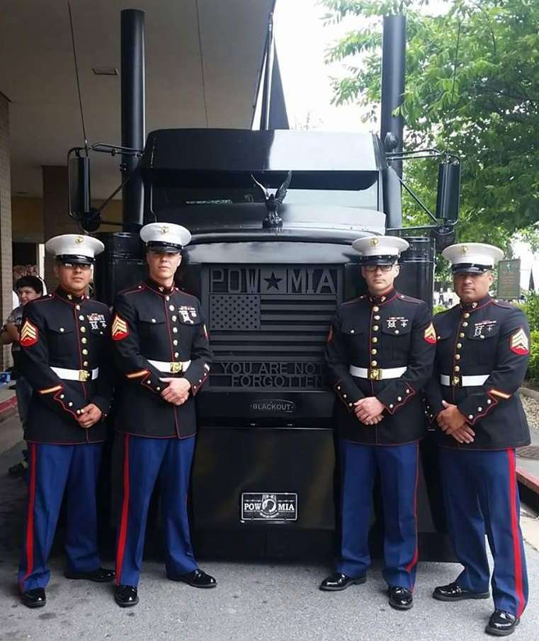 Black Out with active-duty Marine's at the Martinsburg, W.V., veterans service center. The truck is dedicated specially to the Martinsburg-located 167th Airlift Wing.