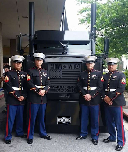 Black Out with active-duty Marine's at the Martinsburg, W.Va., veterans service center. The truck is dedicated specially to the Martinsburg-located 167th Airlift Wing.