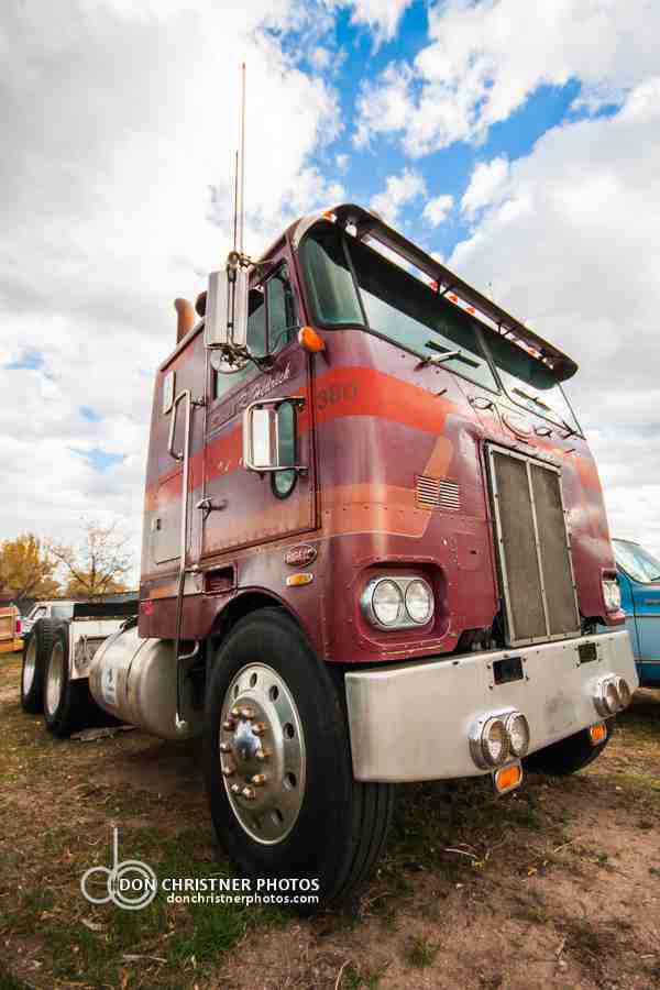 "This cabover Pete ""was in very good condition,"" Christner says, ""but I never looked under the cab to see what engine it had."""