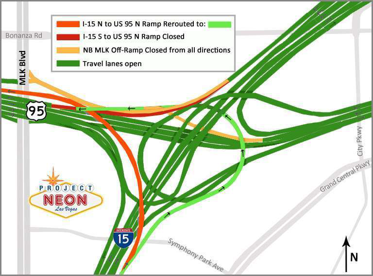 Some I-15, U.S. 95 ramps in Vegas closed through February