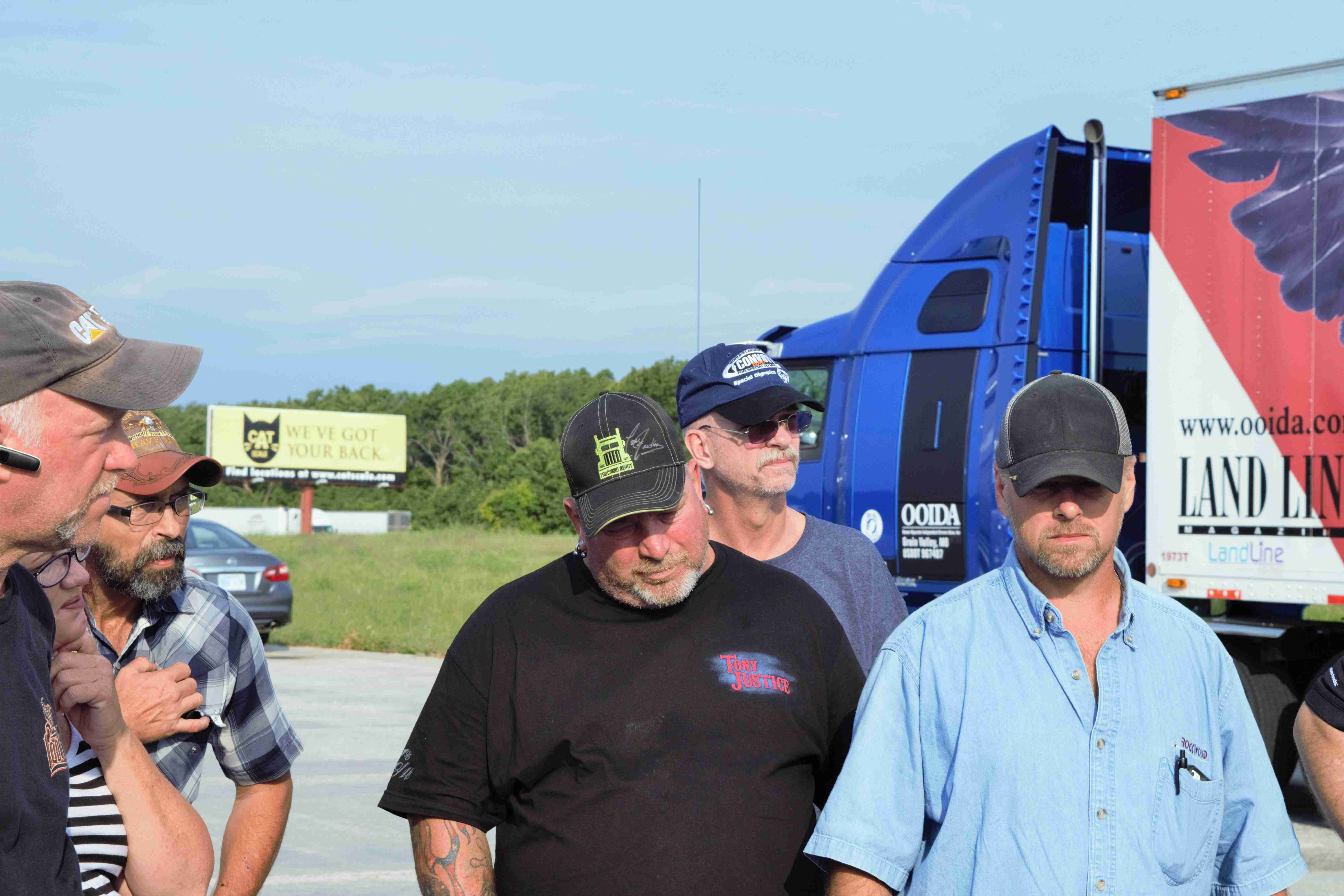 """Michael Suson (pictured center) of Lawton, Okla., drove his """"Trucker to Trucker"""" 2016 Cummins-powered KW W900 in the convoy."""