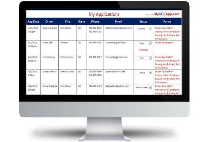 My Applications screen