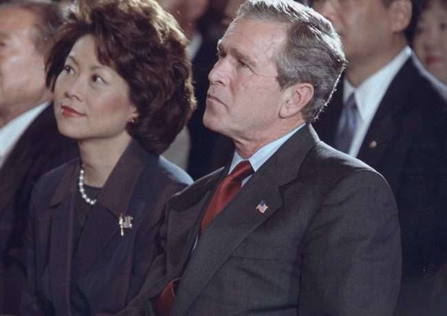 Chao, left, served eight years in President George W. Bushs cabinet. Her experience as Labor Secretary has been applauded by industry lobbyists.
