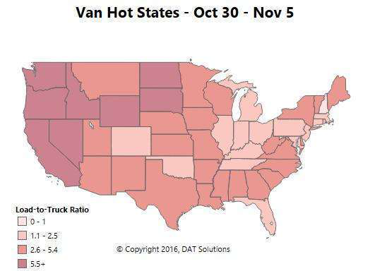Reefer gaining ground in select markets, dry van rates improving overall