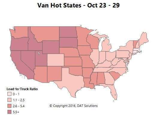 Van freight 'unseasonably strong,' reefer holding -- rates haven't followed up with volumes