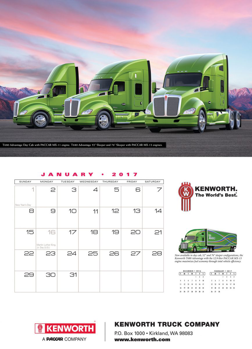 Keep track of appointments with 2017 trucking calendars