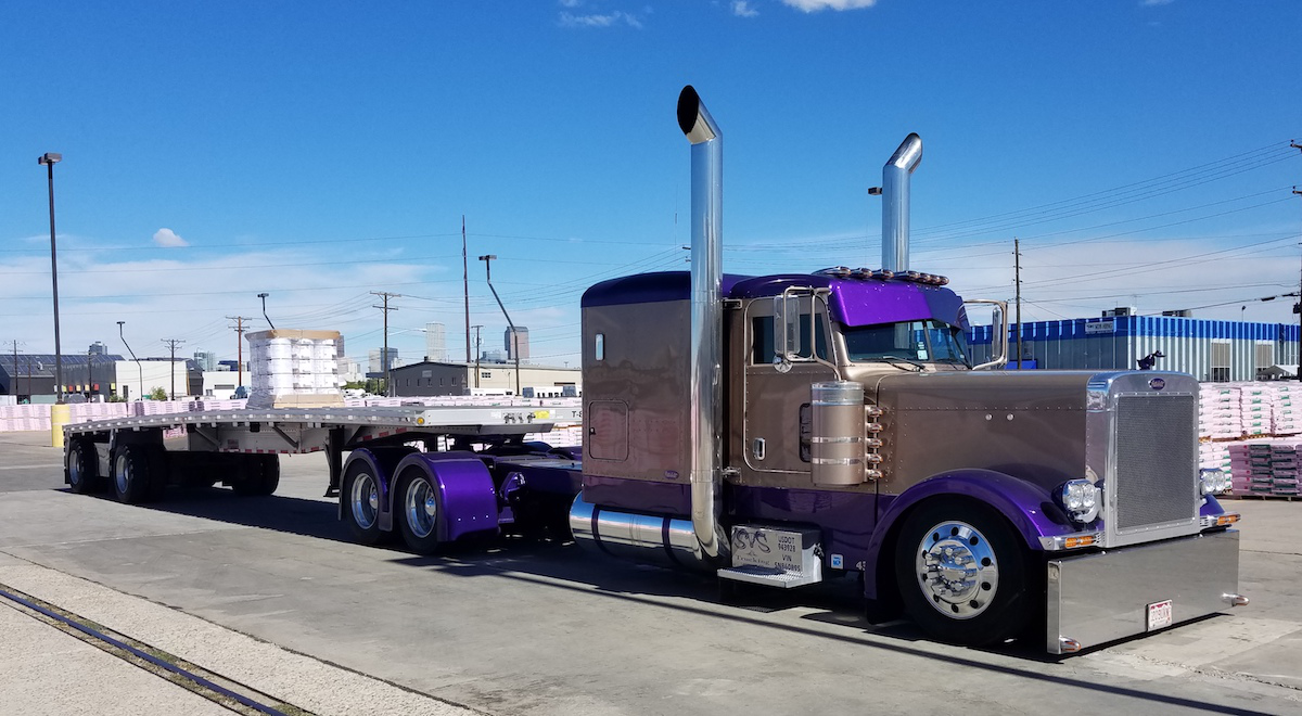 Kyle Simon's 2005 Peterbilt 379 extended hood is powered by a  550-horsepower Caterpillar that has been converted to a single turbo.