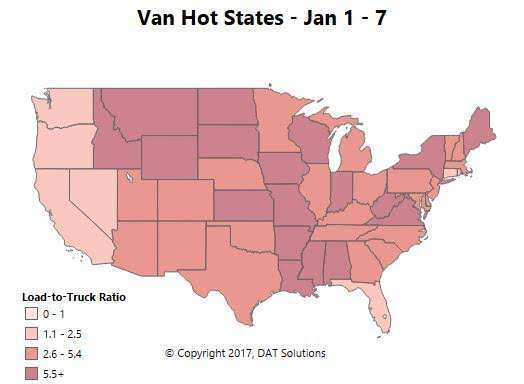 Van, reefer demand and rate picture mixed the first week of the year