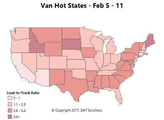 Winter doldrums in the spot market for vans, reefers