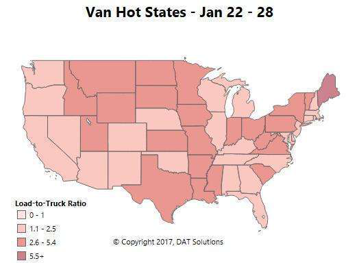 Weekly spot freight update: Reefer, van volumes still strong compared to 2016