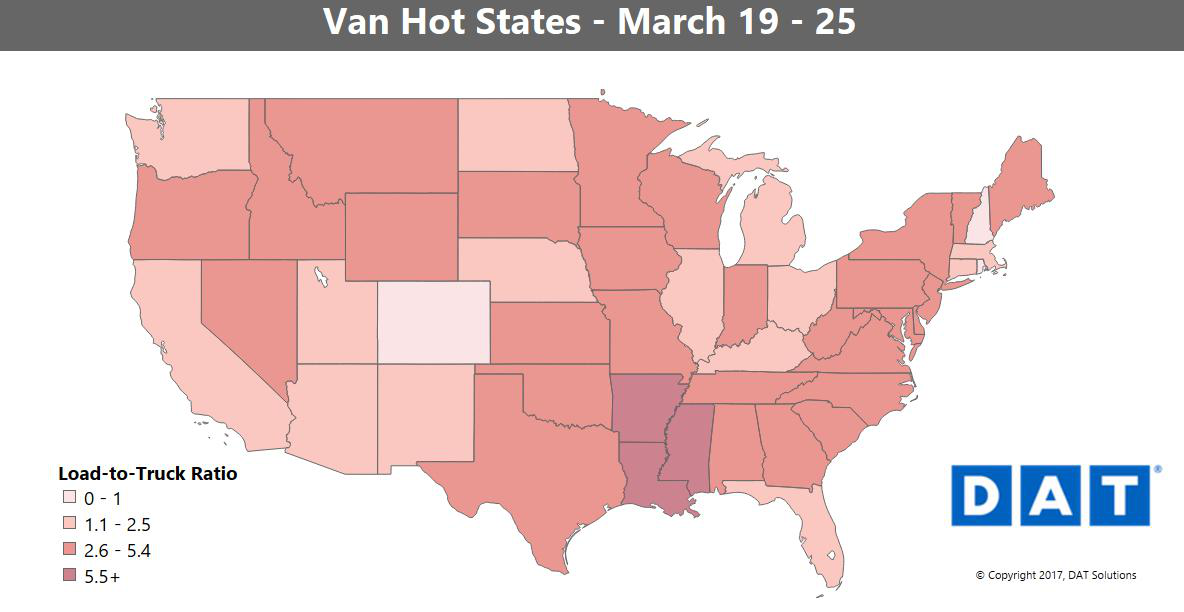Demand edges down, but freight volumes steady in van, lagging a bit in reefer with weather