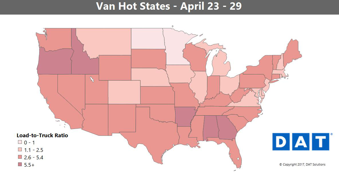 Van rates edge up nationally, reefer freight moving out of growing areas to the South