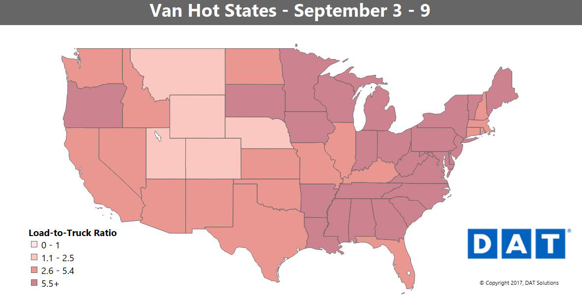 c03e9a65f3 The load-to-truck ratio states map doesn t tell the whole story for regions  around the country. Compare it to the more granular hot markets map that  follows ...