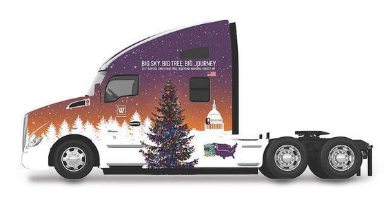 Specially wrapped Kenworth T680 to haul Capitol Christmas
