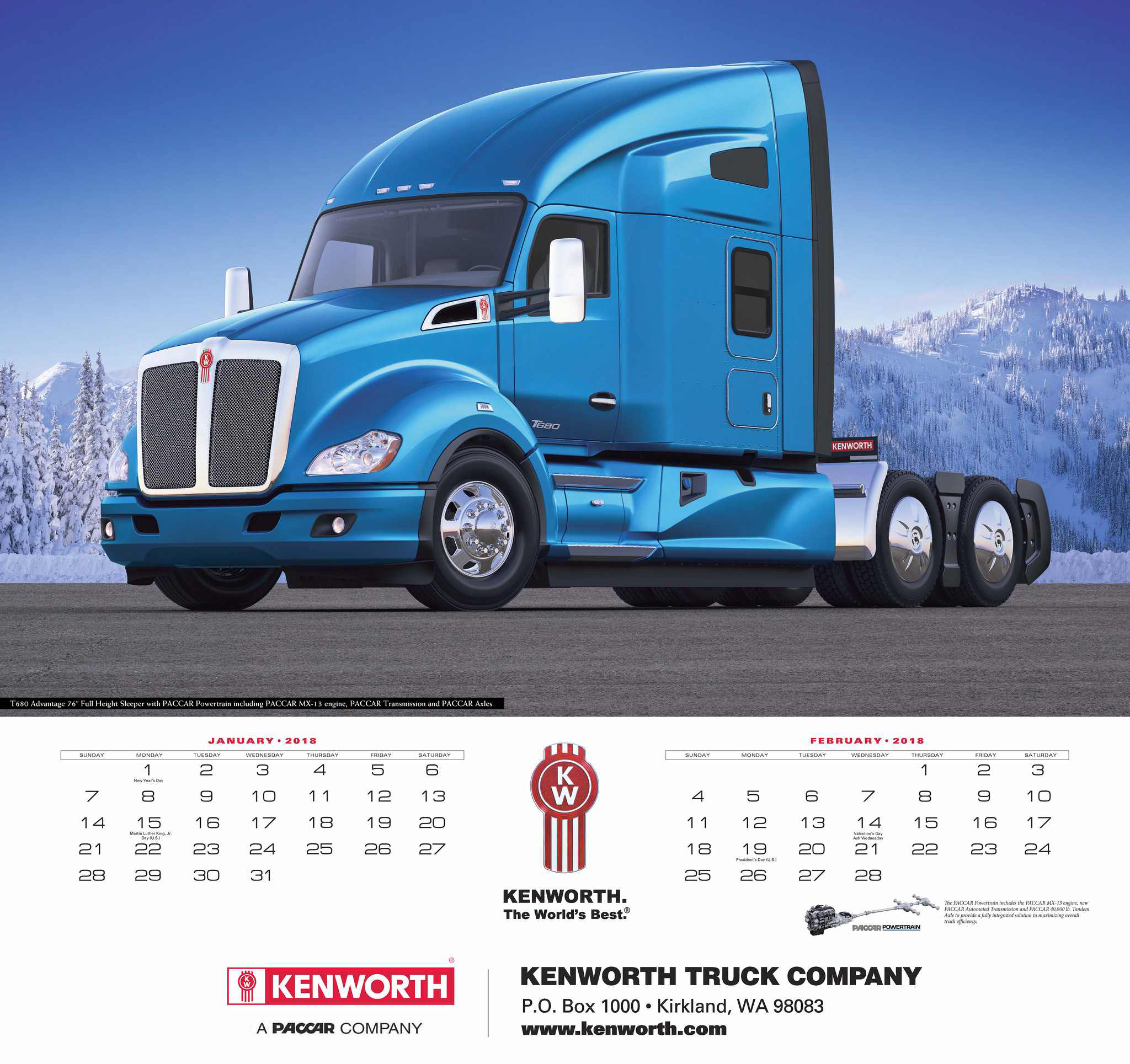 2018 kenworth calendars now available. Black Bedroom Furniture Sets. Home Design Ideas