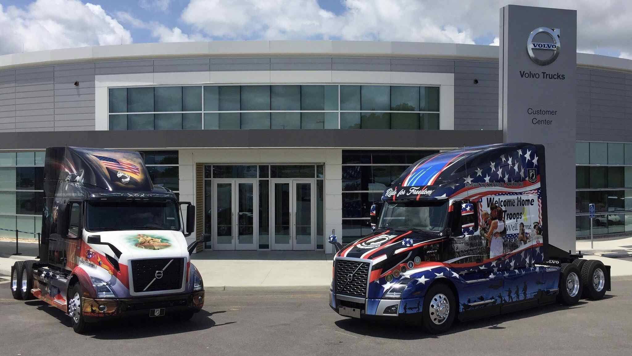 Ride for Freedom trucks debuted by Mack and Volvo