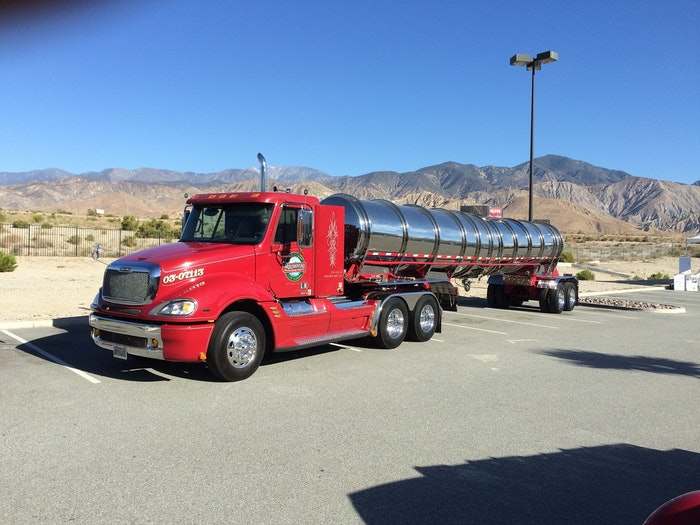 Arrowhead Freightliner Columbia day cab/ Brenner Stainless polished show tanker