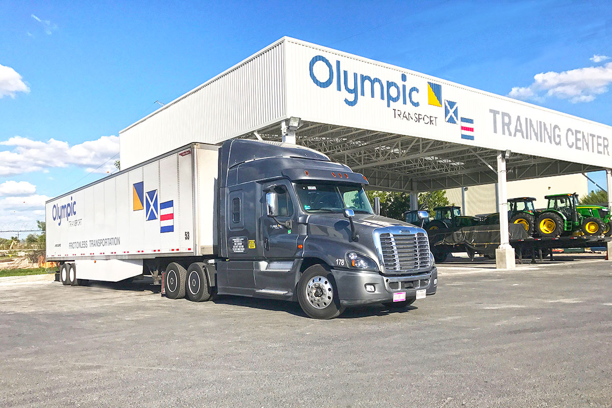 semi truck outside of olympic training center