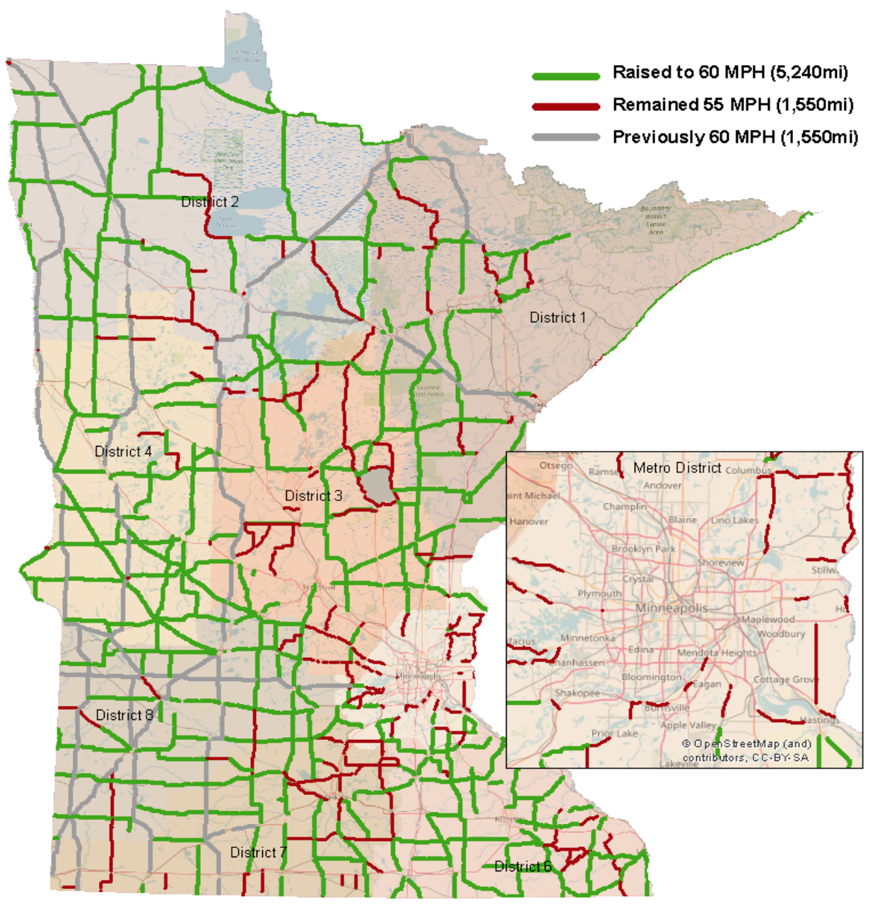 Minnesota raises speed limits to 60 on over 5,000 miles of highways