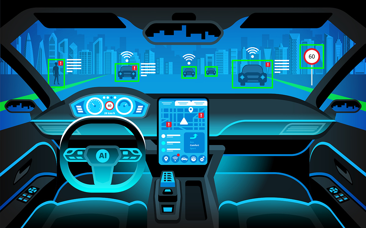 Artistic rendering of a self-driving car's dashboard and field of vision