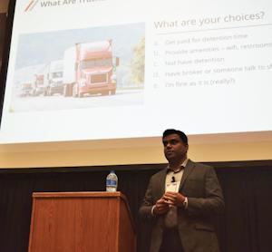 Trucker Tools' Prasad Gollapalli speaking at the 2019 Mid-America Trucking Show